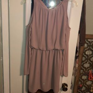 Mauve, open shoulder long sleeve dress